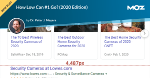 How Low Can #1 Go? (2020 Edition)